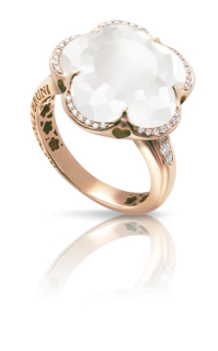 BON TON <br /> Ring - Roségold<br /> Milchquarz/Diamanten